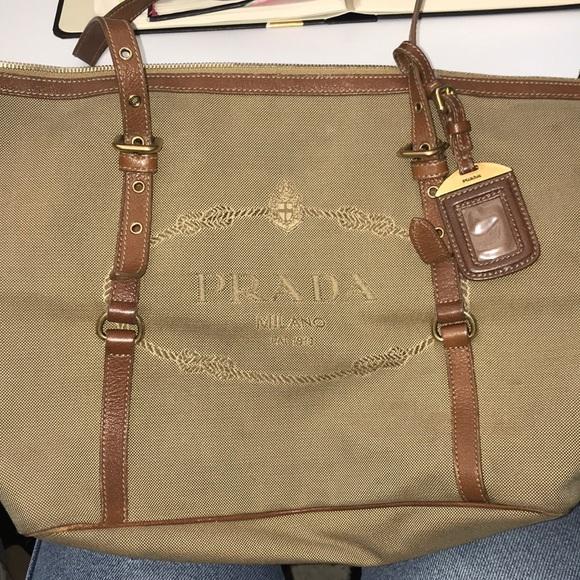 2214ca940b2b AUTHENTIC PRADA brown canvas shoulder bag. M_5a538a4a46aa7c9989008c72